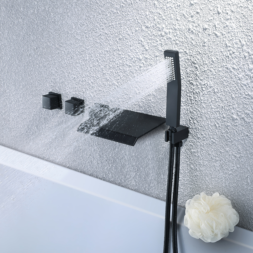 Wall Mounted 5 Holes Waterfall Tub Filler Solid Black Bathtub ...