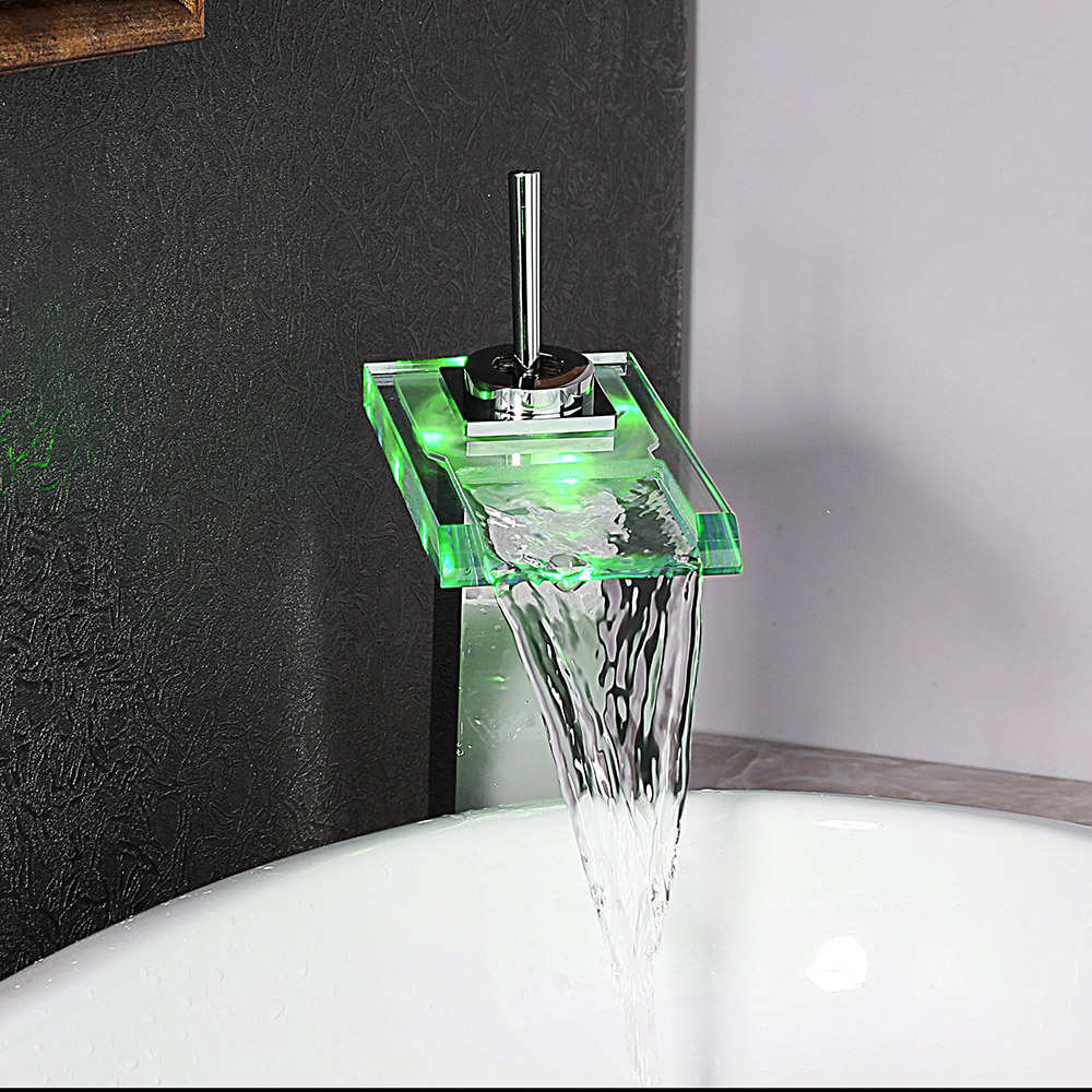 LED Light Single Lever Tall Glass Waterfall Countertop Basin Tap ...