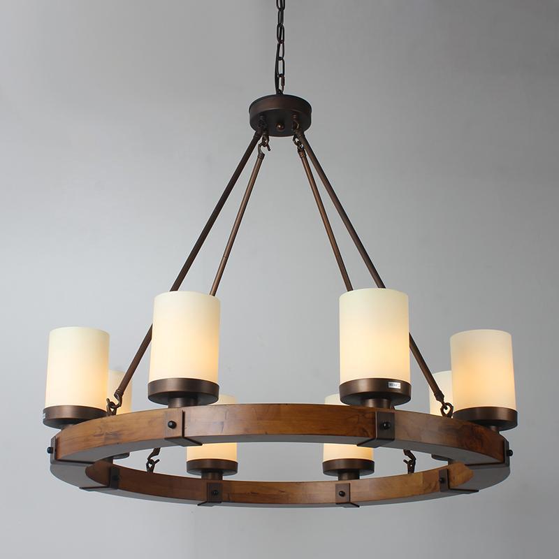 Farmhouse Round Wood Frame 6 8 10 Light Chandelier Vintage Kitchen Pendant Lamps