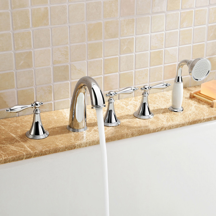 Luxury Widespread Deck Mounted Roman Bath Tub Filler Faucet Tap with ...