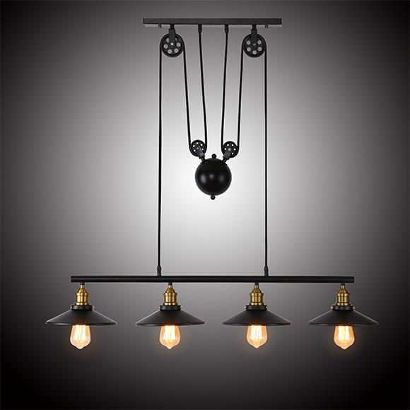 Industrial Adjustable Height Pulldown Lighting Kitchen