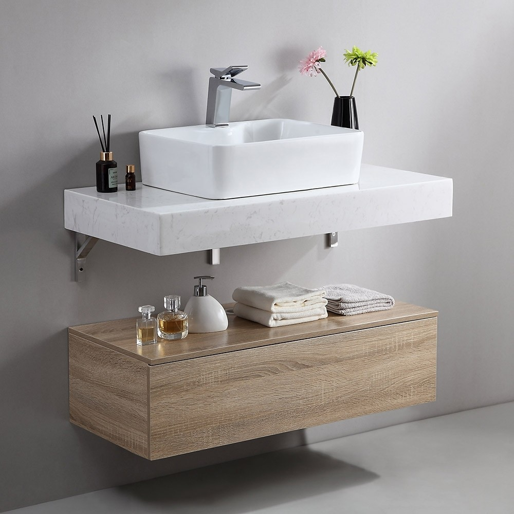 Homary 36 Inch Floating Bathroom Vanity with Faux Marble ...