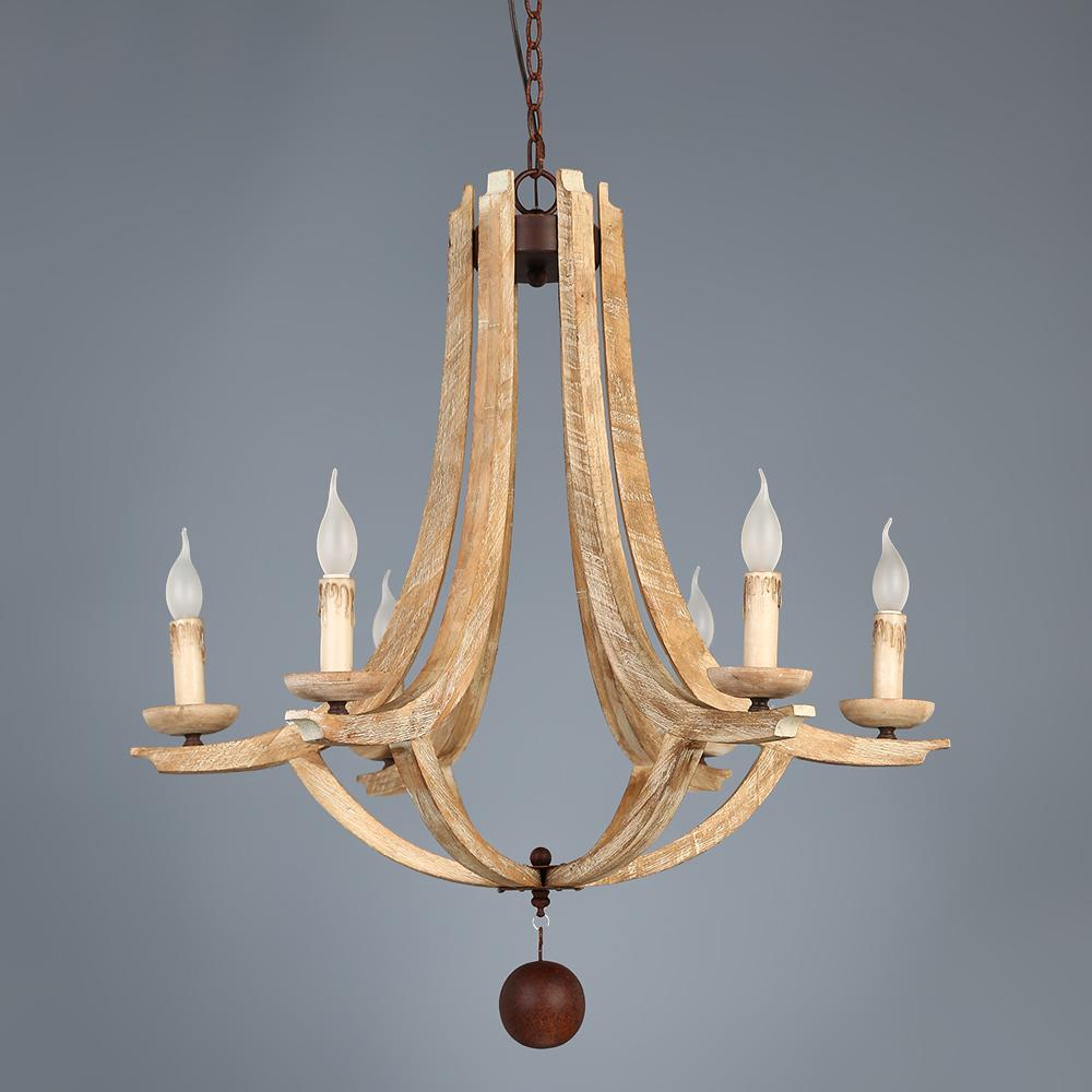 Rustic Farmhouse Wood Rust Metal 6-Light Candelabra Chandelier ...