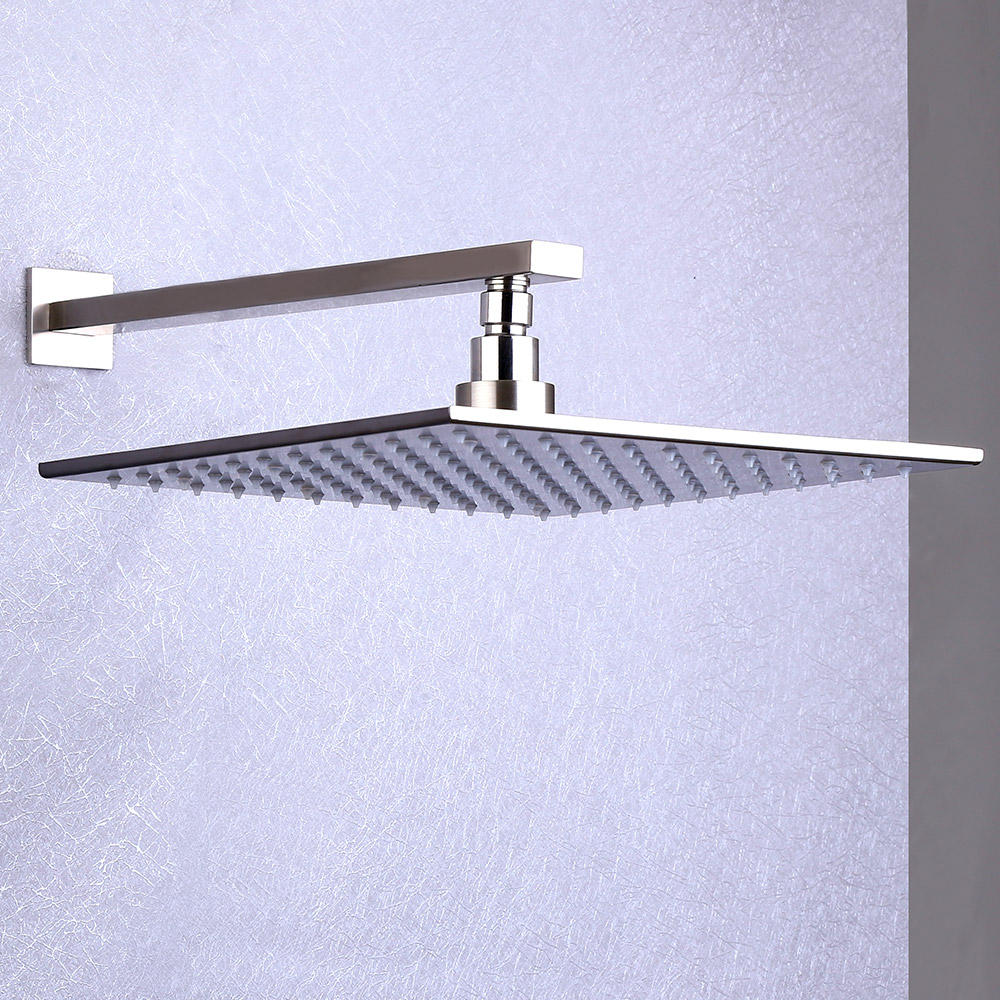 Contemporary LED Rain Shower Head & Hand Shower System in Brushed ...