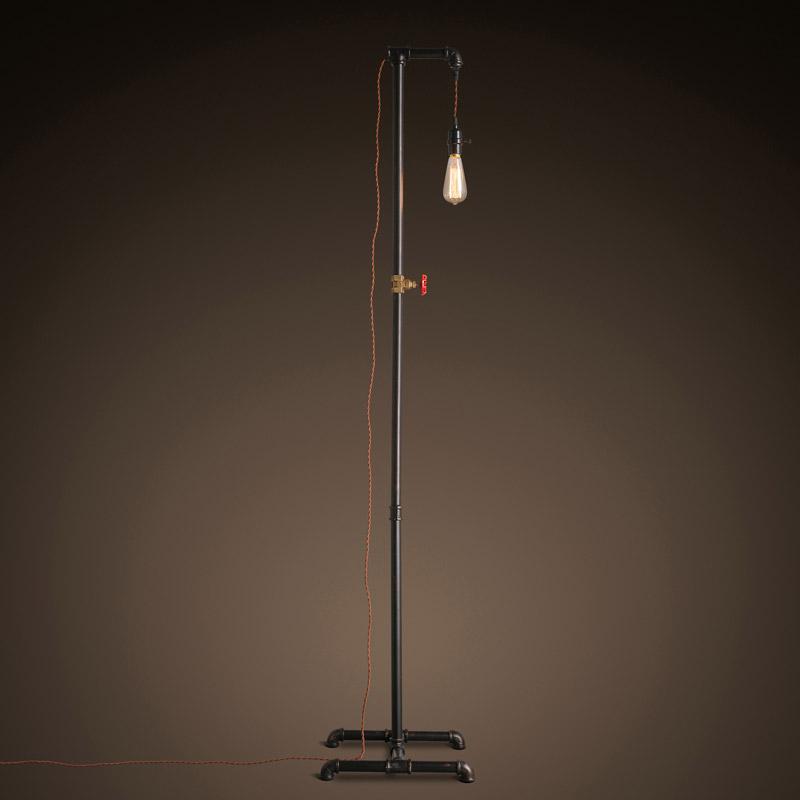 Rust Iron Water Pipe Floor Lamp