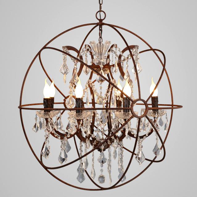 Industrial Tin Chandelier Industrial By Industriallightworks: Industrial Retro Clear Crystal Hanging Sphere Rust Metal