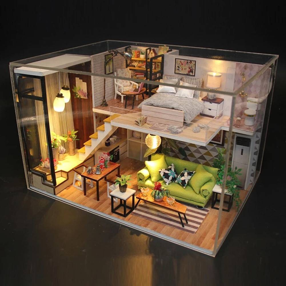 Home Room Miniature Diy Dollhouse Kit Wood Toy Doll House Cottage