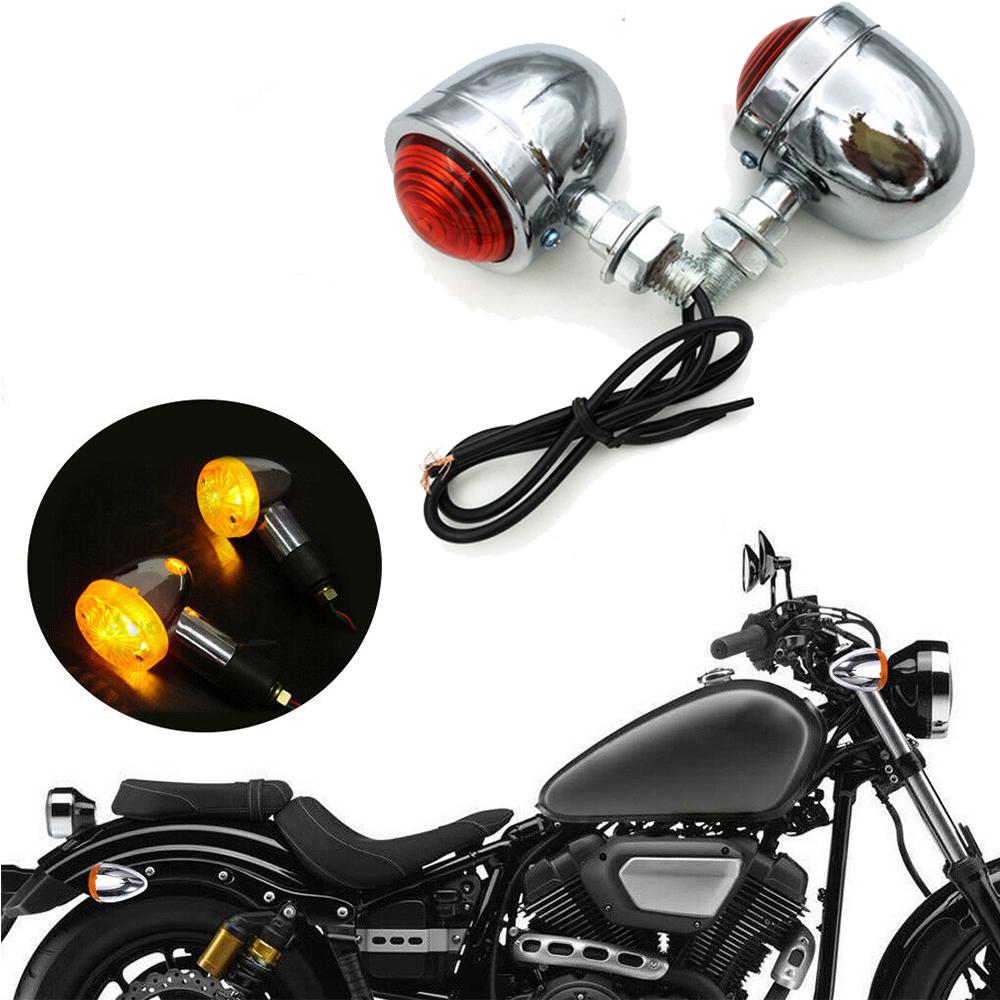 2Pcs Bullet Motorcycle Turn Signal Light Indicators Blinkers Amber Yellow