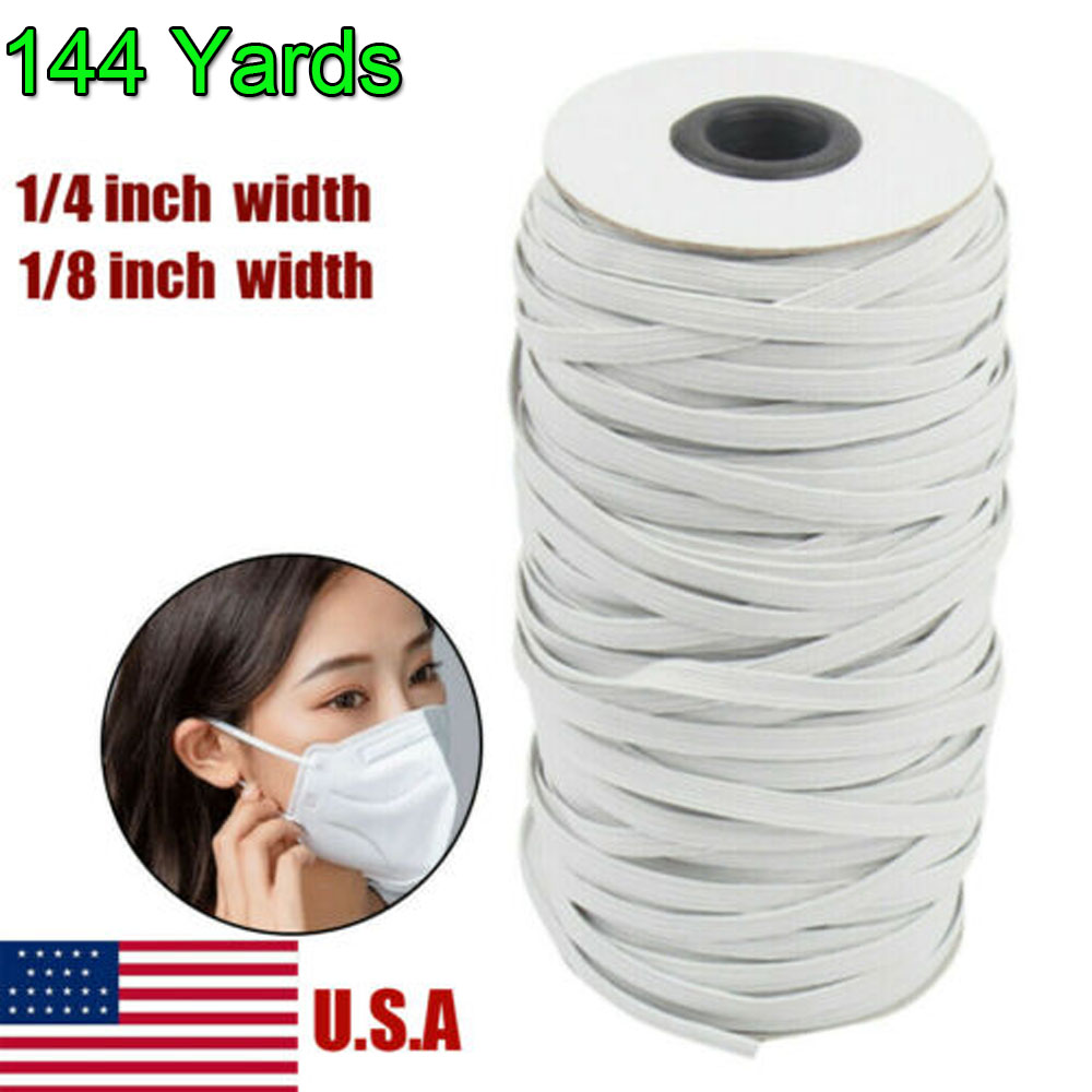 100 Yard Braided Elastic Bands for Sewing 1//4 Inch Flat String Cord White