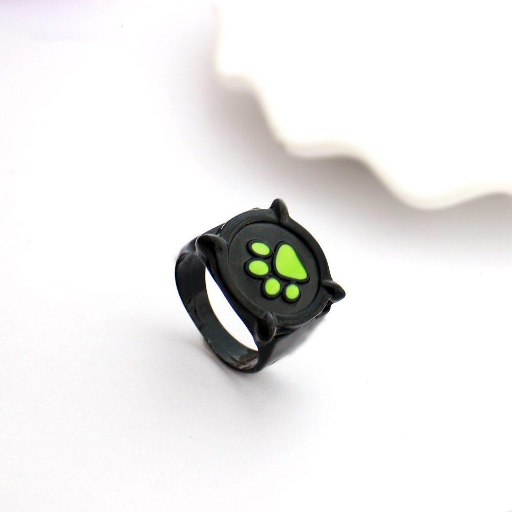 Chat Cat Noir Green Paw Print Ring Anime Halloween Props