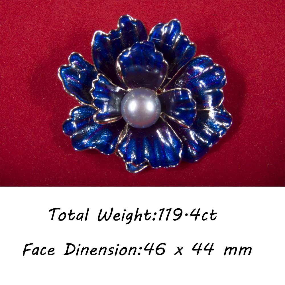 DEEP BLUE FLOWER GRAY NATURAL ROUND PEARL ENAMEL CLOISONNE BROOCH ...