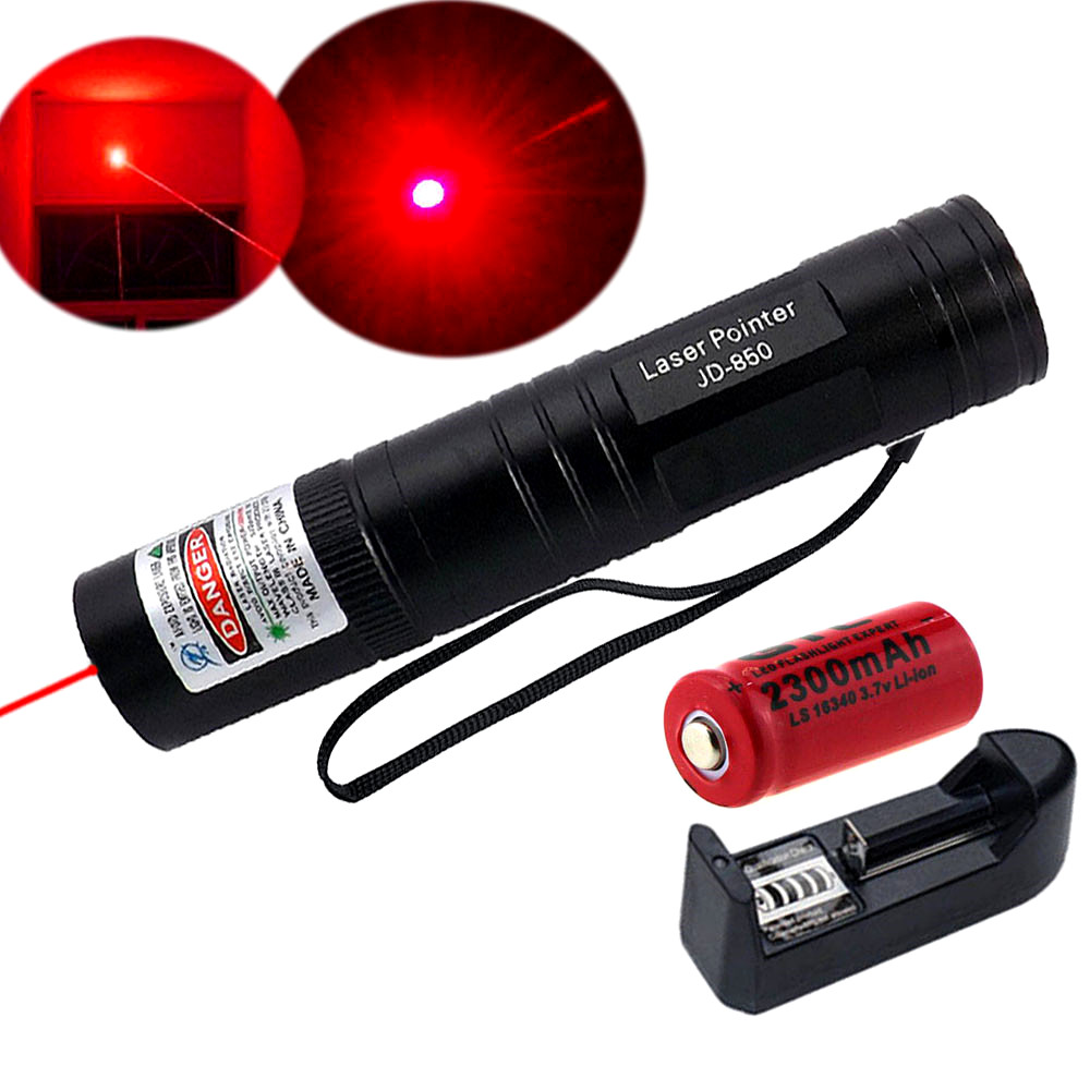 10 Mile Red Laser Pointer 650nm Lazer Pen Lamp Visible Beam Focus+16340 Battery