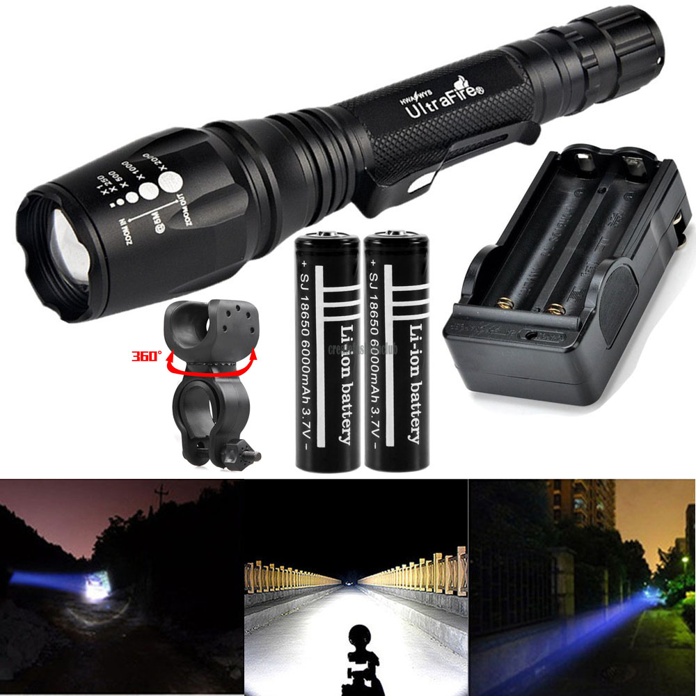 Flashlight Military 90000LM Torch XML-T6 Zoomable USB Rechargeable Waterproof EO