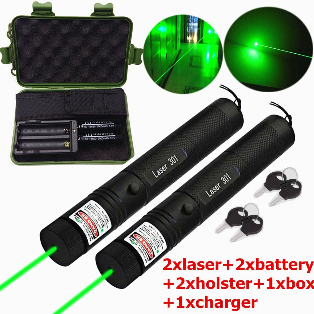 Adjustable Green Long Range 10 Miles Beam Laser Pointer 1mw Power 18650 Holster