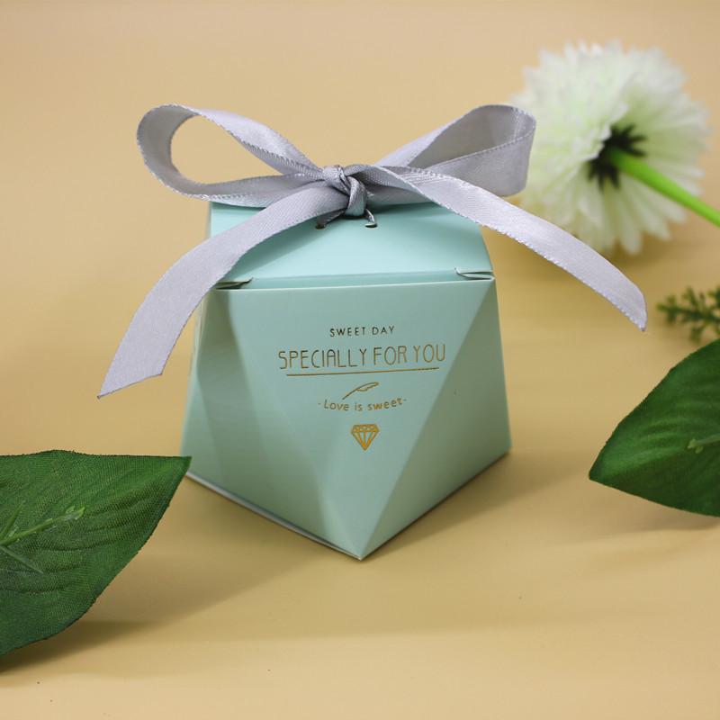 50pcs Cute Tiffany Blue Diamond Shape Wedding Favor Boxes Ribbon