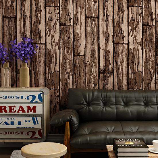 Vintage 3d board wood grain wallpaper mural wall bedroom decor vinyl home rolls