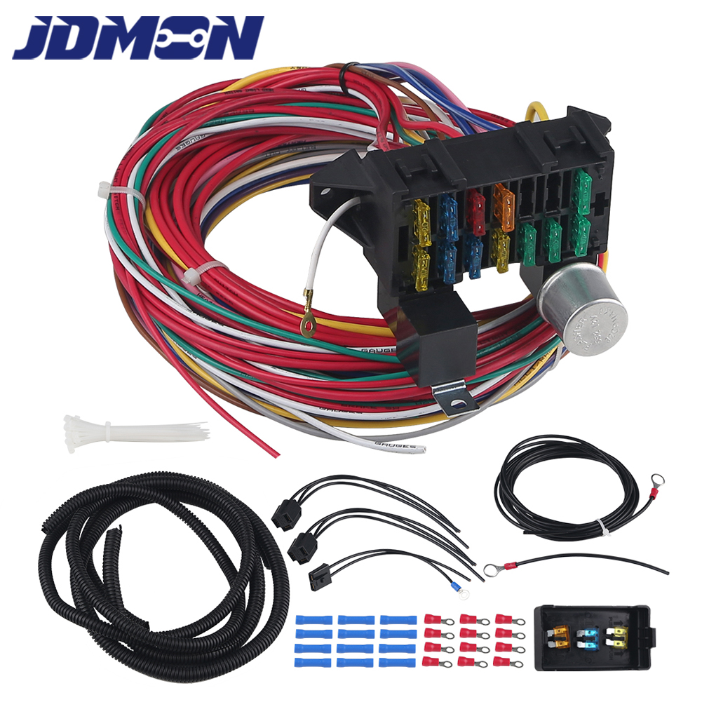 12v 12 Circuit Universal Wiring Harness Fit For Hot Rod Manual Guide