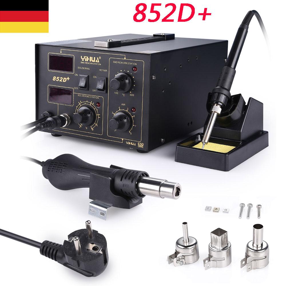 3 Düsen 700W 220V DE 858D SMD Rework Station Entlöten Lötkolben Heißluft Löten