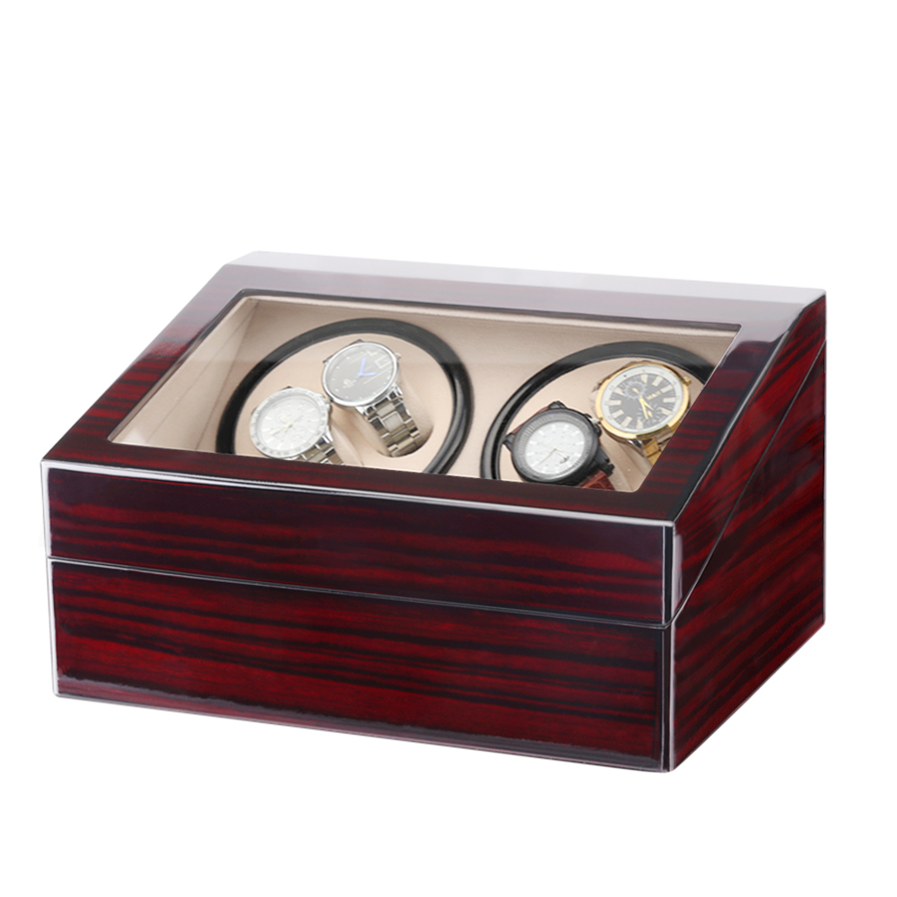 uhrenbeweger 4 6 uhren uhrenkasten automatisch holz watchwinder box eu adapter ebay. Black Bedroom Furniture Sets. Home Design Ideas