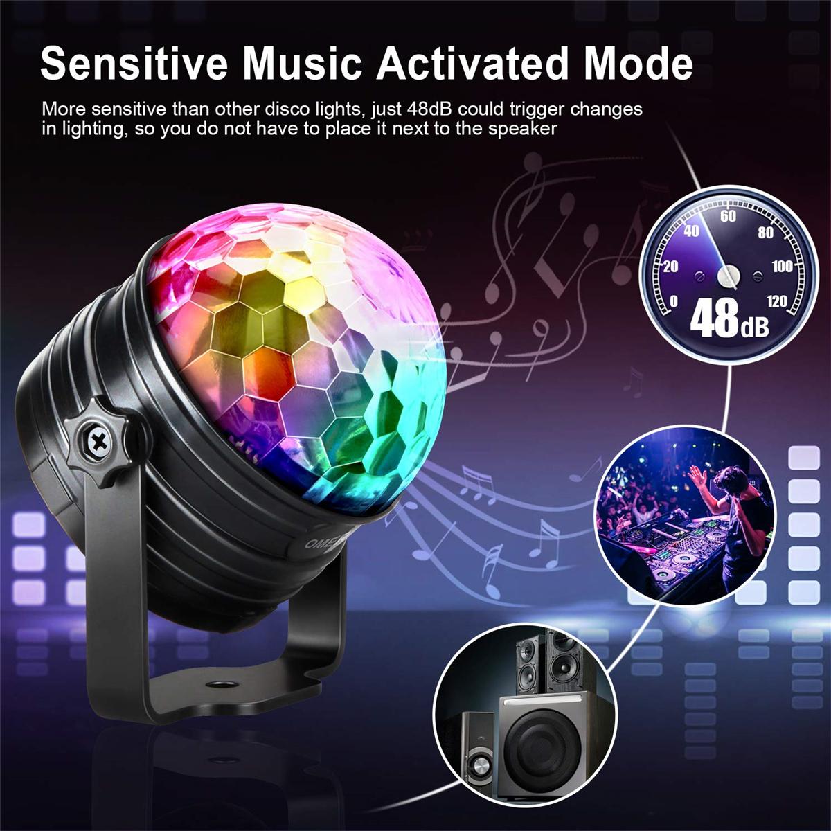 2er Partylicht 7 Farben Modi Musikgesteuert Bühnenbeleuchtung Fernbedienung EU