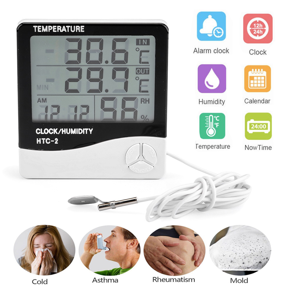lcd digital innen au en thermometer hygrometer au enf hler sensor messer mit uhr ebay. Black Bedroom Furniture Sets. Home Design Ideas