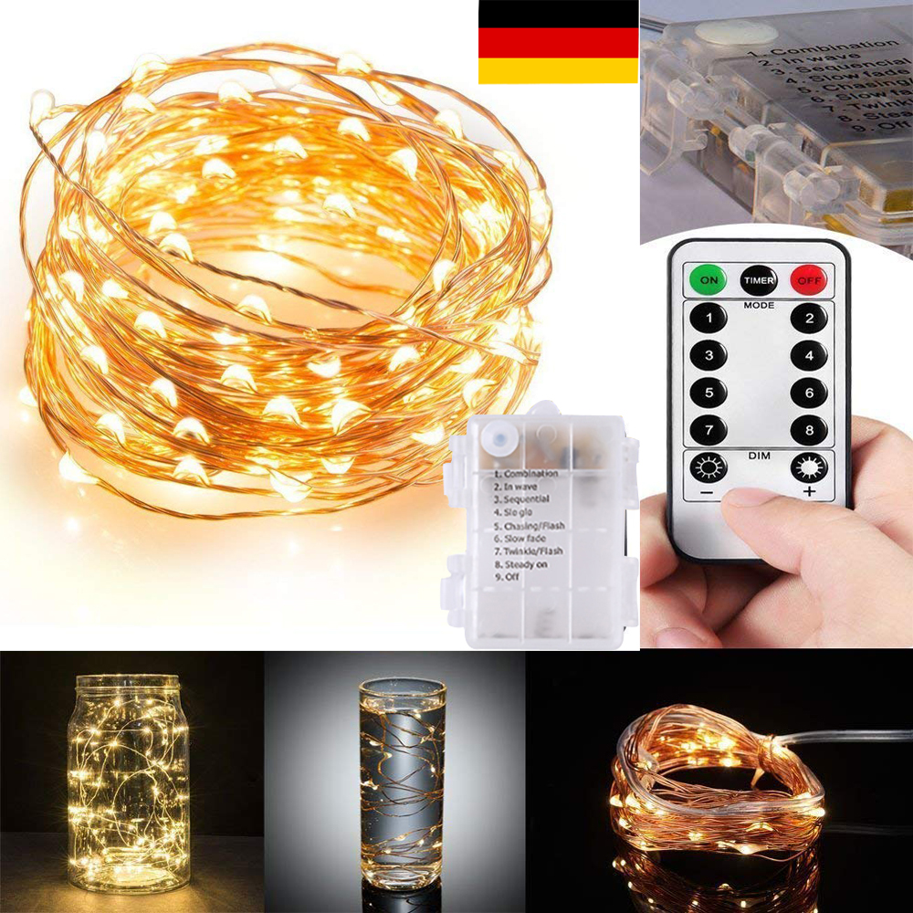 10m 100 led lichterkette drahtlichterkette fernbedienung timer batterie warmwei ebay. Black Bedroom Furniture Sets. Home Design Ideas