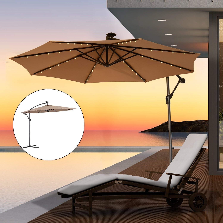 alu sonnenschirm mit led beleuchtung ampelschirm 300 cm garten schirm pavillon ebay. Black Bedroom Furniture Sets. Home Design Ideas