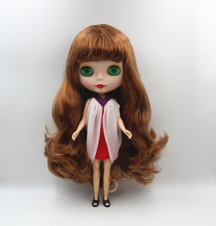 """12/"""" Neo Blythe Doll From Factory Copper Red Curly Long Hair With Bang"""