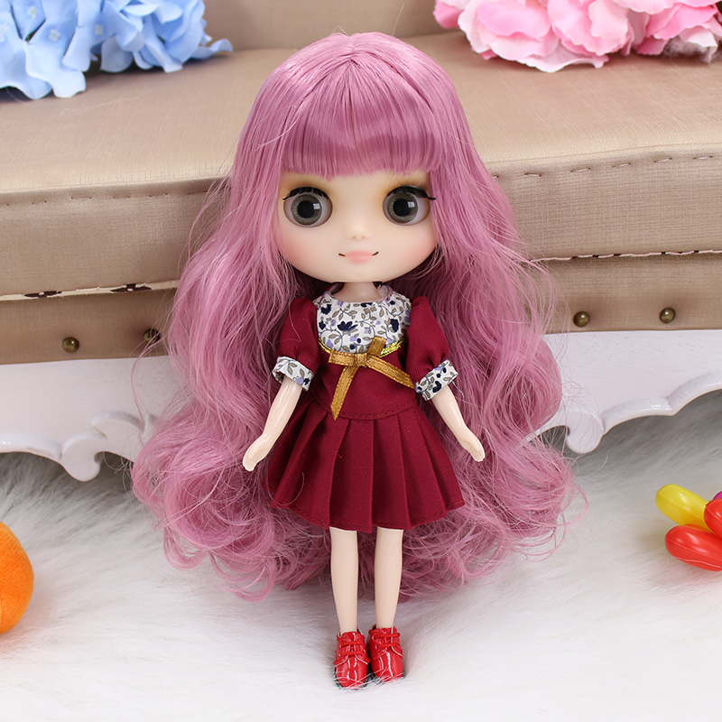 "New 8/"" Takara middle Blythe factory Nude Doll standard body Dark purple hair"