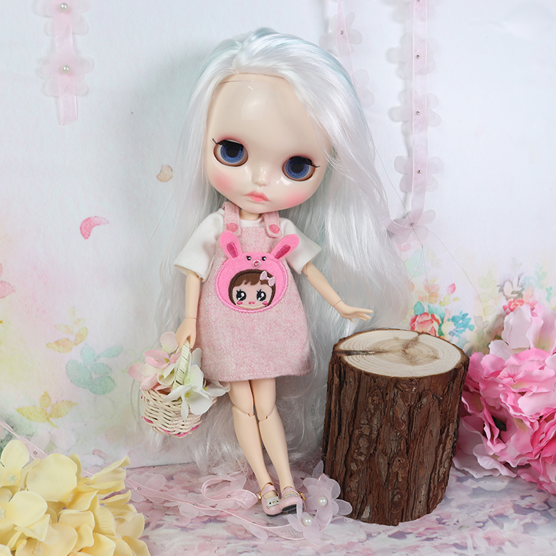 """12/"""" Neo Blythe Doll  Joint Body Mix Pink/& White Hair Nude Doll from Factory"""