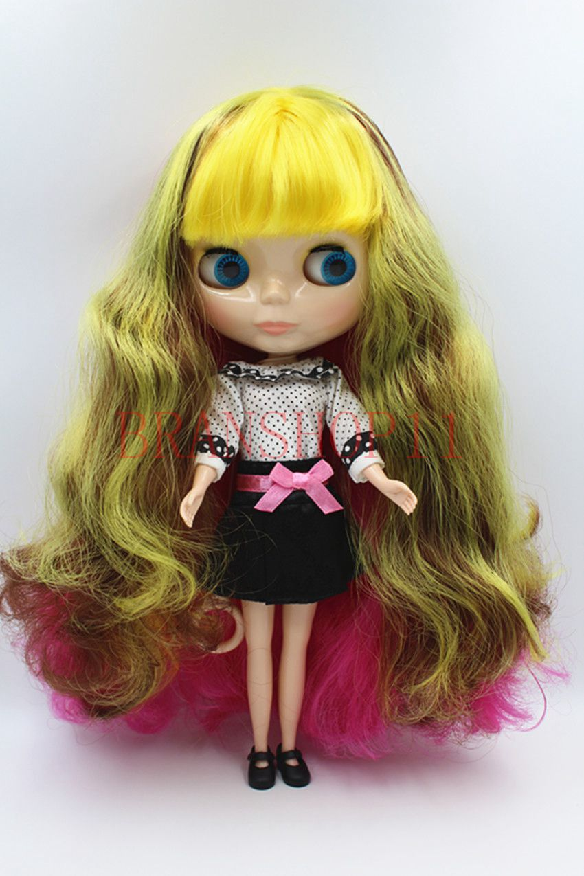 """12/"""" Neo Blythe factory Nude Doll colorful mixed long curly hair standard body"""