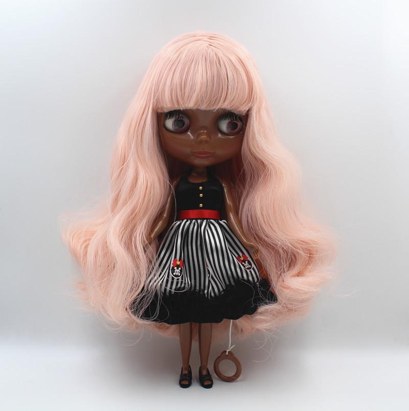 Pink hair Nude blyth Doll black skin Factory doll Cute