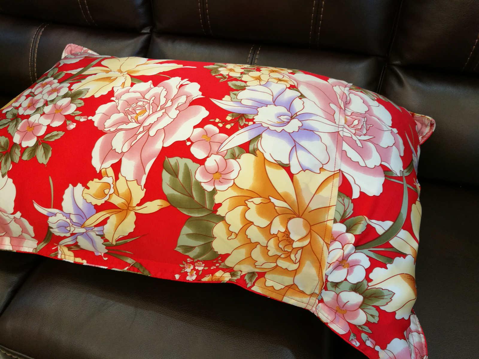New 100 Silk Oxford Pillowcase Pillow Shams Red Floral