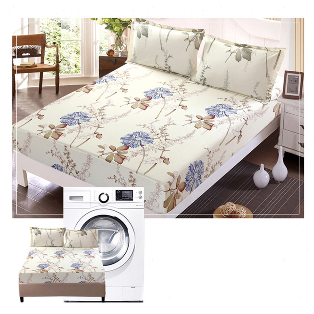 Flower Printed Fitted Sheet Polyester Mattress Cover Bed Sheet Set With  Elastic Modern Bed Linen Single Double Queen Size