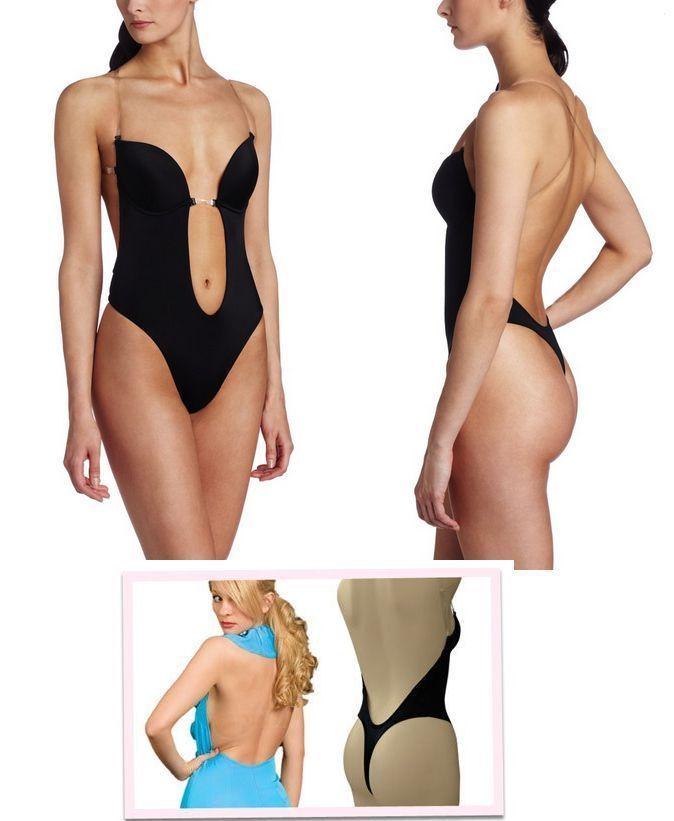 cc2d358632432 Shapewear Thong Bodysuit Lingerie Women Backless Full Body Shaper PUSH UP  Bra