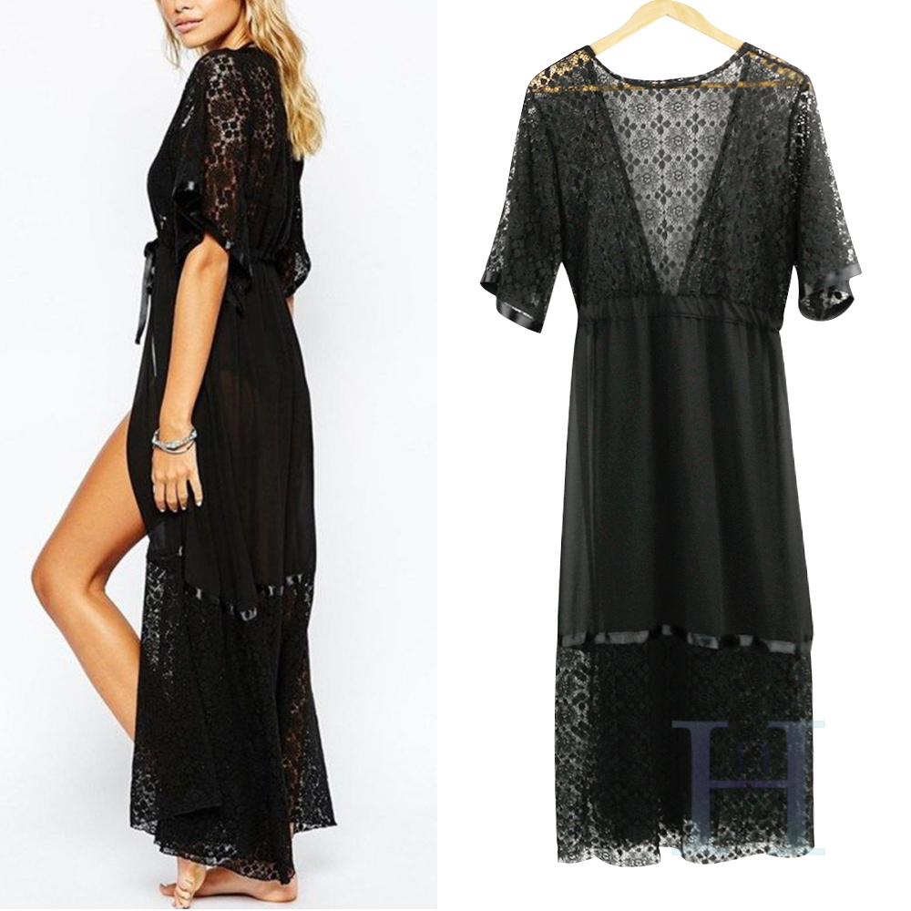 Boho Chiffon Women Beach Bikini Long Cover Up Lace Kimono Cardigan ...