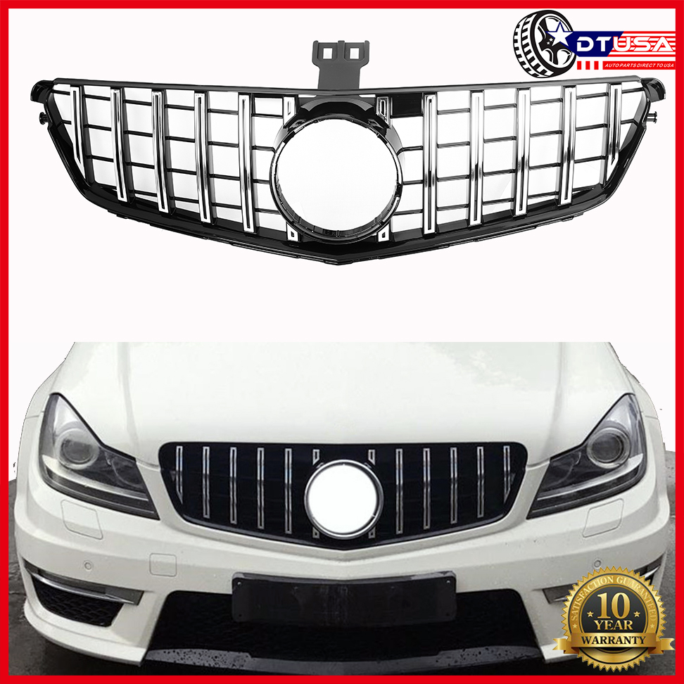 Chrome Silver Modified GTR Style Grill Grille MERCEDES C