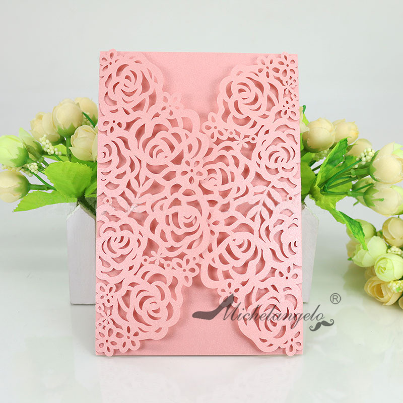 Laser Cut Flower Bowtie Party Wedding Invitation Evening Invite Set Personalised