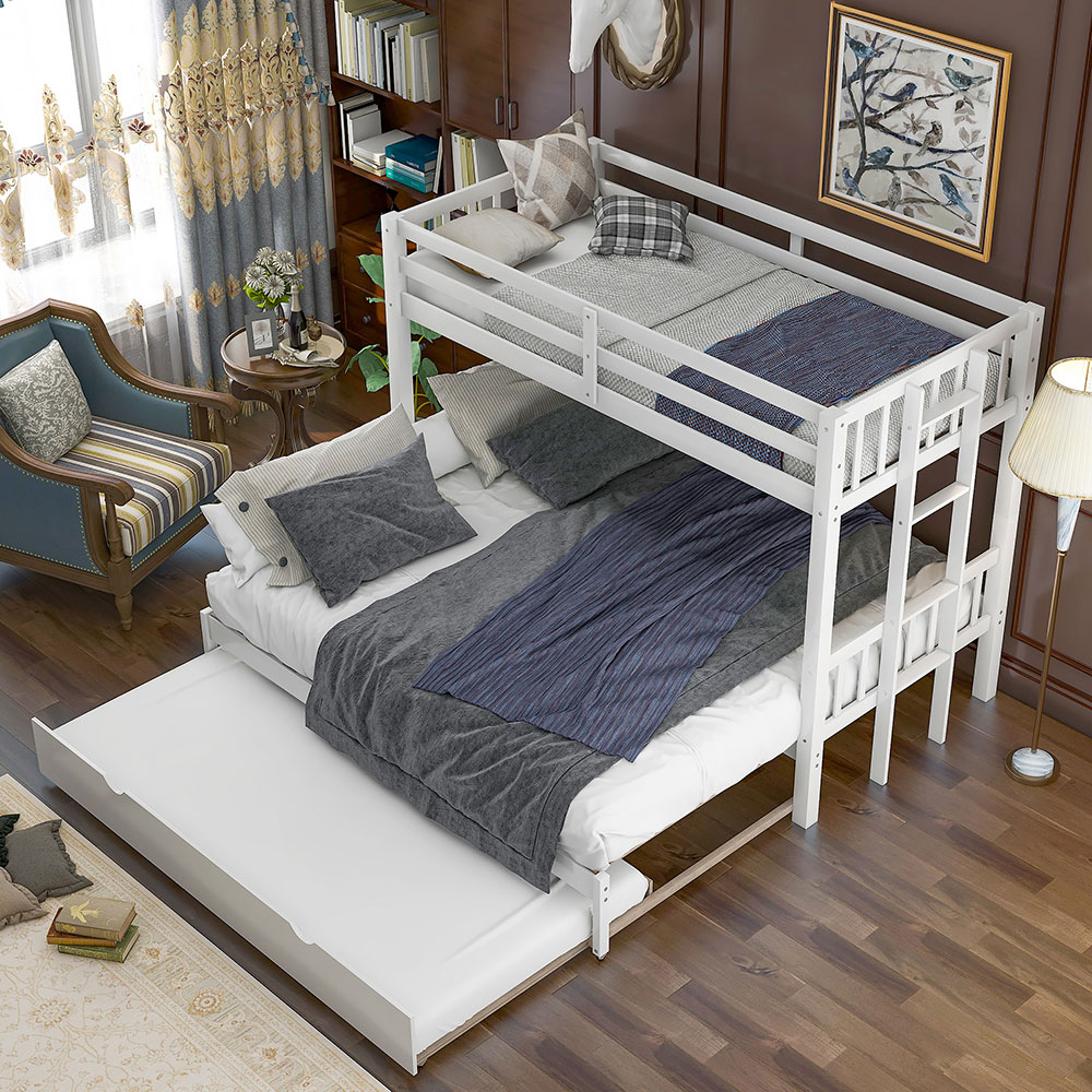 Twin Over Twin King Pullout Bunk Bed Solid Wood Bed Frame W Ladder Trundle Kids Ebay