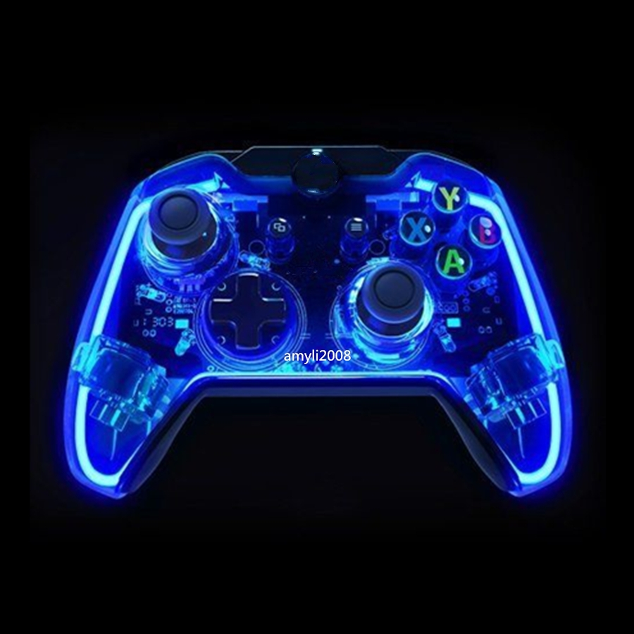 Glow Blue USB Wired Controller Gamepad Joystick For Xbox One