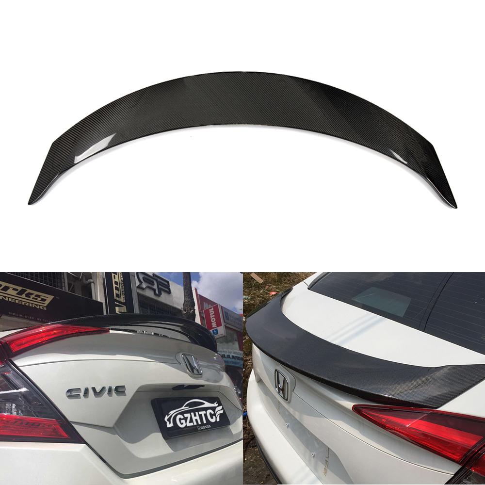 Carbon Fiber Rear Pressure Tail Wing Spoiler Black For