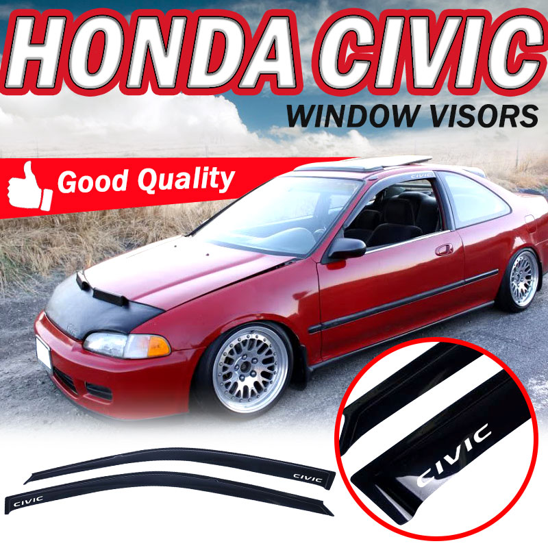 MADE FOR 92-95 HONDA CIVIC 2DR 3DR WINDOW VISOR WIND DEFLECTOR RAIN GUARD SMOKED