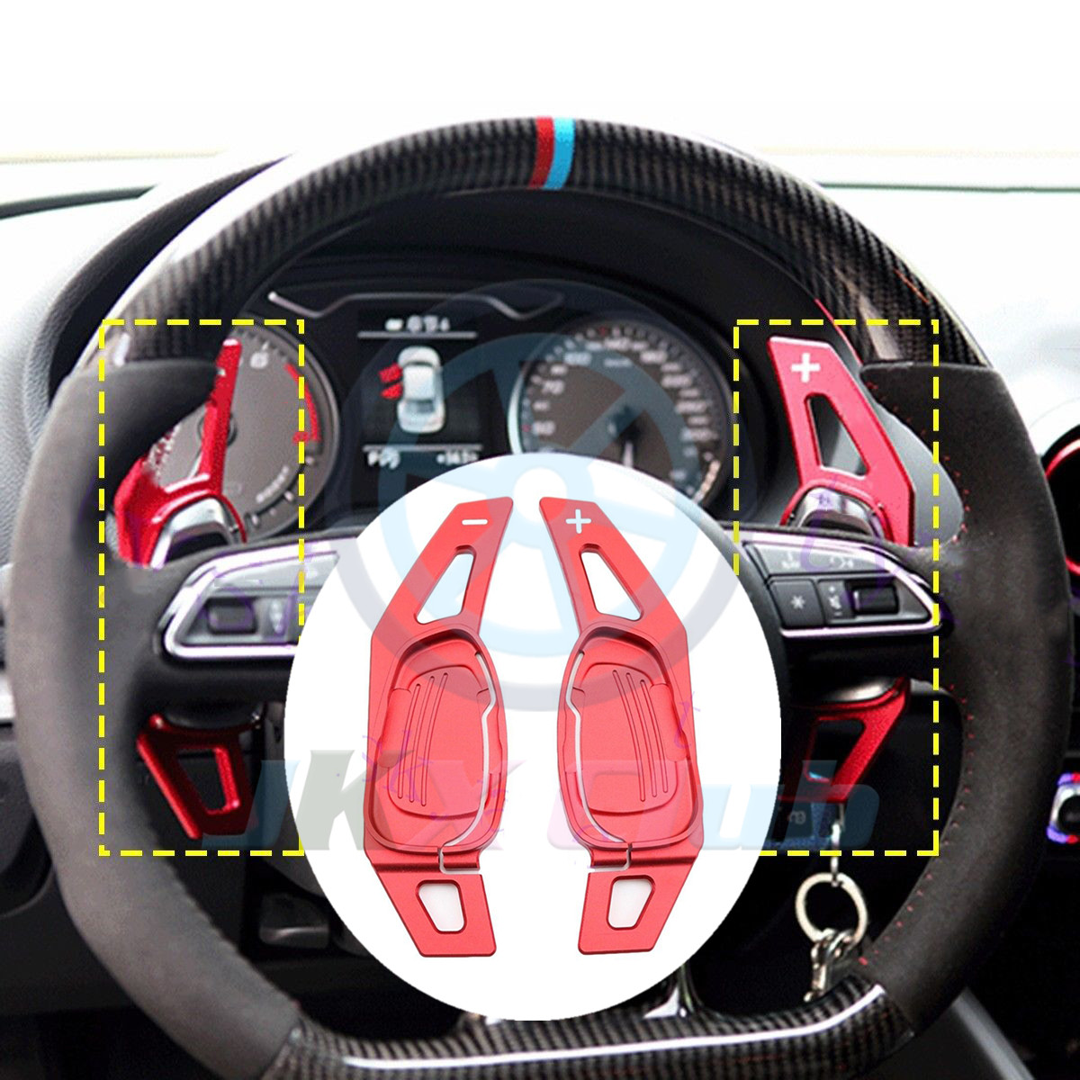 Steering Wheel Paddle Black Aluminum Alloy Car Steering Wheel Shift Paddle Shifter for Audi A5 S3 S5 S6 SQ5 RS3 RS6 RS7