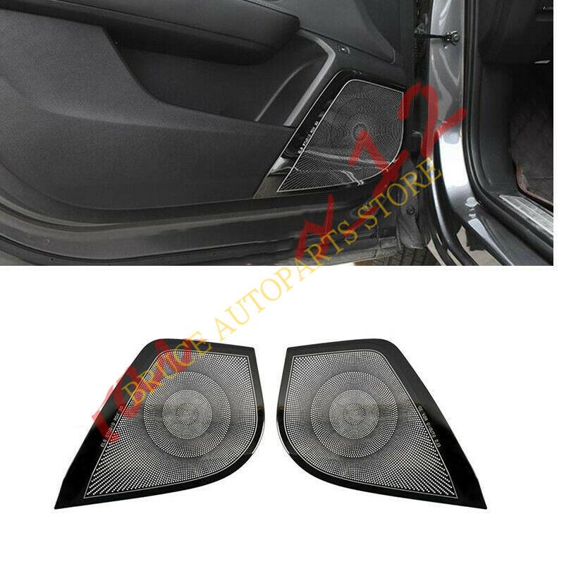 Steel 2pcs NEW Black Car Door Speaker Audio Ring Cover