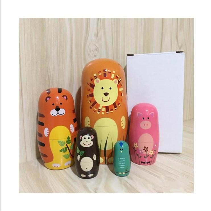 Puppen & Zubehör 5Stk Holz Tier Bär Russische Puppe Matroschka Matrjoschka Figuren Dolls Dekor