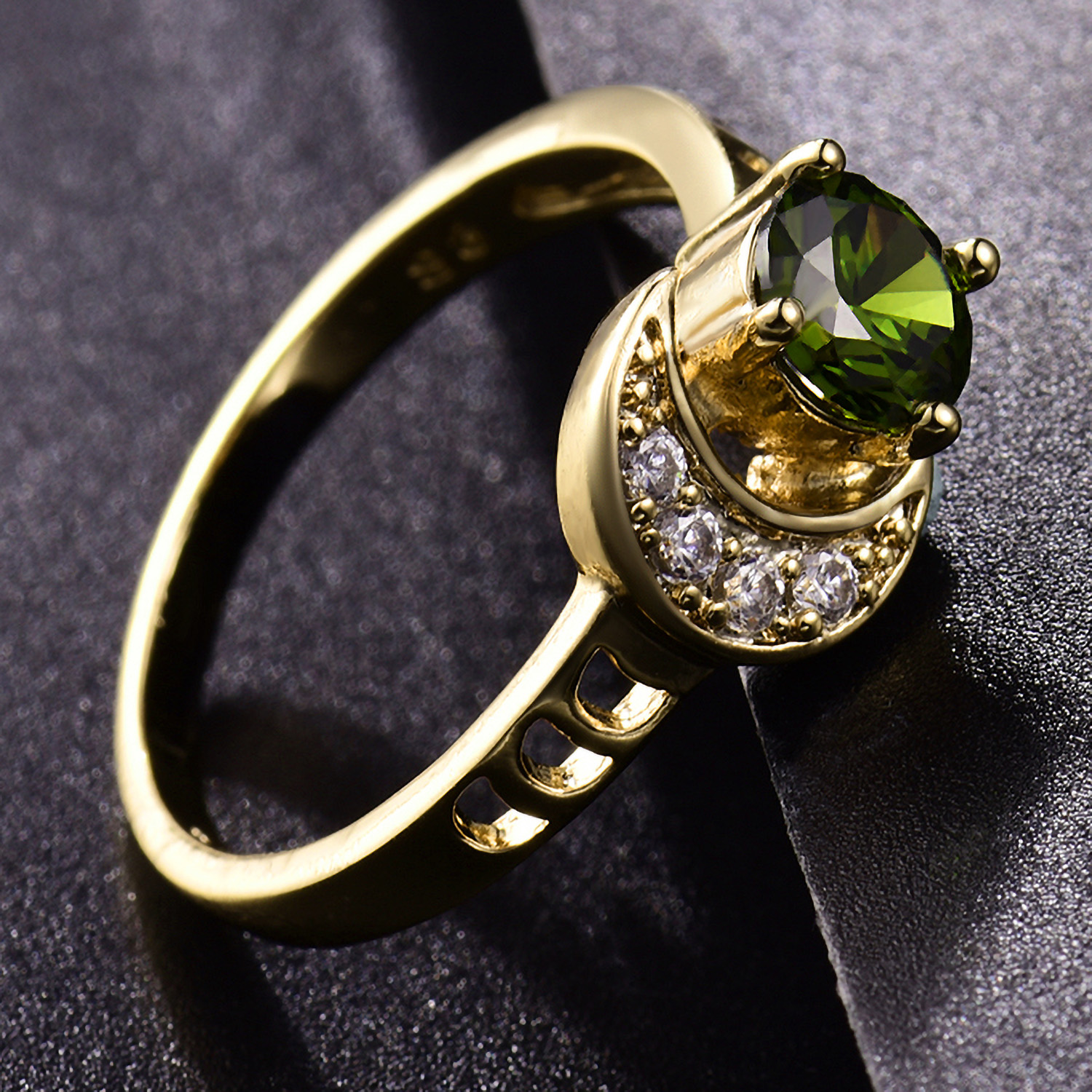 Luxury Sun   Moon Olivine Green Crystal Gold Filled Women Lady Engagement  Ring 221262904557