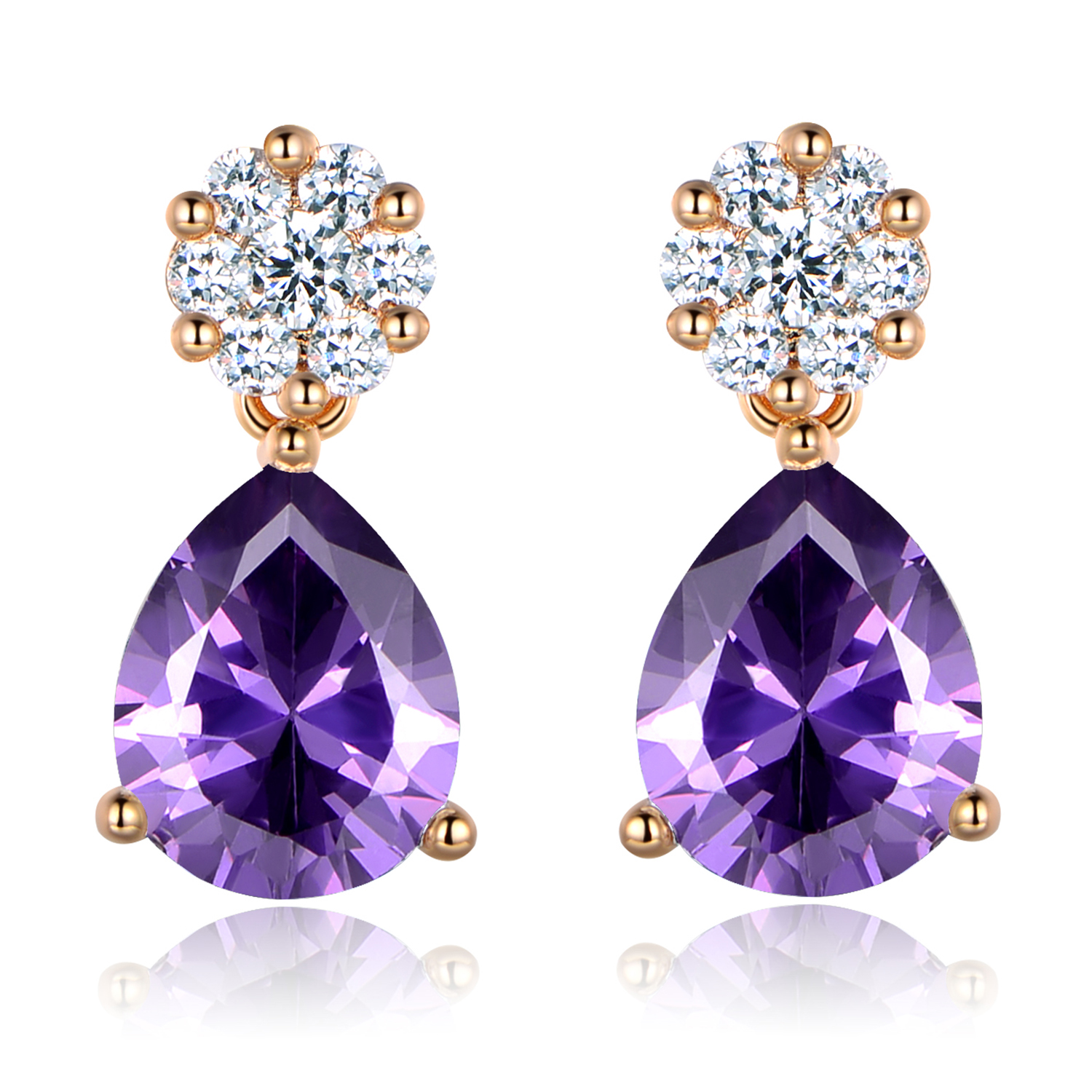 7b770a583 Details about Dangle Pear Raindrop Purple Swarovski Crystal Gold Filled  Women Stud Earring BOX