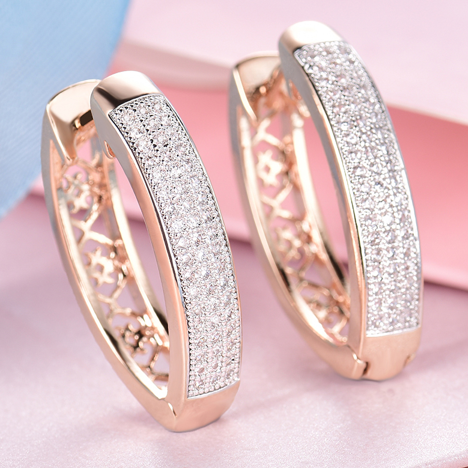 Silver & Gold Filled Clear Crystal Sapphire Women Lady Party Hoop ...