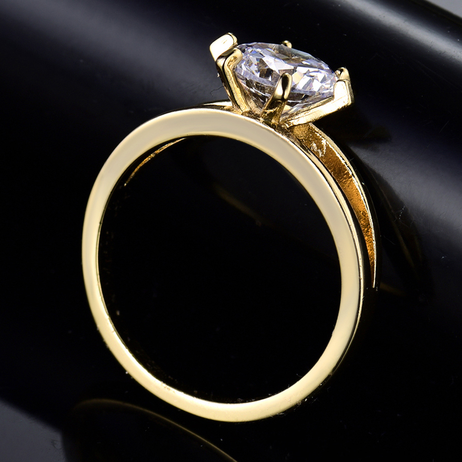 Size 5-9 Round Clear Crystal Diamond Yellow Gold Filled Women Lady Wedding Rings