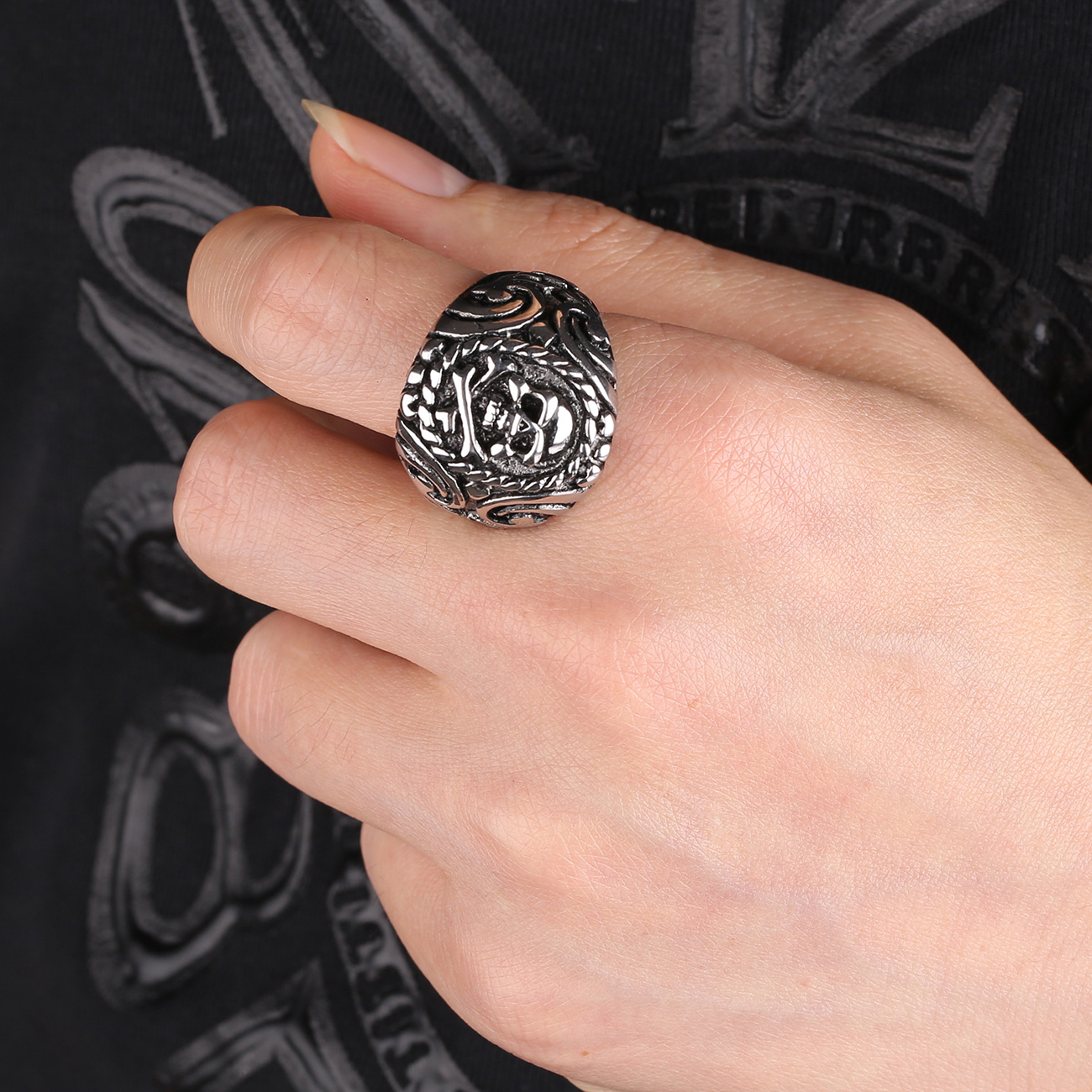 hot product rings sales halloween silver jewelry punk plated skeleton
